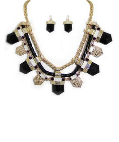 Look what I found on #zulily! Black & Gold Pointed Bib Necklace & Earrings by MOA International Corp #zulilyfinds