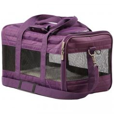 A soft-sided pet carrier for dogs and cats weighing up to 16 pounds.