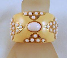 SALE Vintage Wide Butter Yellow Enamel Hinged Bangle Bracelet White Glass Cabochons via Etsy