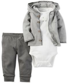 Carter's Baby Boys' 3-Pc. Little Lamb Hoodie, Bodysuit & Pants Set $12.98 Carter's presents soft, cool neutrals to keep baby ultra comfy with this darling three-piece outfit of a striped hoodie, pull-on pants and bodysuit finished with a fluffy sheep appliqué.