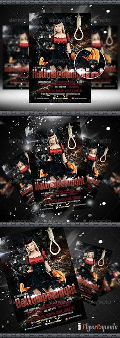 """Halloween Night Flyer Template  #GraphicRiver         Halloween Night Flyer Template    Features    • Size: 1275×1875px (4×6"""") Bleeds 0.25"""" • Fully editable + Full layered • Photoshop Version: CS5 or Higher • Resolution: 300dpi • CMYK Colors    Font Used    •  .dafont /mabella.font •  .typography /fonts/gotham/styles/ •  .dafont /bignoodle-titling.font    Model    • photodune /item/woman-in-carnival-costume-witch-shape/1674975    Image not included.          Created: 23August13…"""