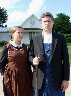 Costume based on Grant Wood's American Gothic
