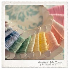 I was so proud when I got all my DMC floss rolled and color families like this emerged. Beautiful colours of DMC stranded cotton. Colorful Roses, Colorful Candy, Candy Colors, Soft Colors, Pastel Colors, Pastel Palette, Yarn Thread, Cotton Thread, Pastel Shades