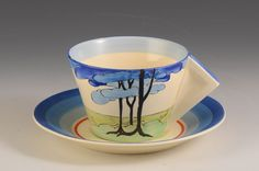 Andrew Muir | Clarice Cliff, Art Deco Pottery, Moorcroft and 20th Century Ceramics Dealerclarice cliff BLUE FIRS CONICAL TEACUP & SAUCER C.1932