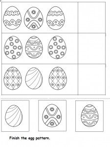 Crafts,Actvities and Worksheets for Preschool,Toddler and Kindergarten.Lots of worksheets and coloring pages. Easter Worksheets, Preschool Worksheets, Printable Worksheets, Free Printable, Easter Activities For Preschool, Easter Arts And Crafts, Kids Crafts, Pattern Worksheet, Easter Egg Pattern