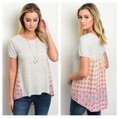 Striped Multicolored Tee Cute Spring Transitional Top! Grey and White Striped Tee Shirt with Multicolored Printing on sides and back. Rounded Neckline, Short sleeves, and a relaxed fit.   94% Rayon 6% Spandex   Sizes Available: S,M,L  *Please do not purchase this listing, I will create a new one with your size* Thank you, Xo Boutique Tops