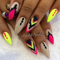 Summer stiletto nails☻ i like everything about these but i would change the tan color to light blue or lime green