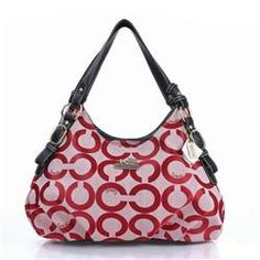 coachoutlets n8xn  Coach Fashion Signature Medium Red Shoulder Bags ERD