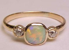 RARE Antique c1860s Real 14k Rose Gold Natural Opal Mine Cut Diamond Ladies Ring | #opalsaustralia antique jewelry x