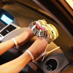 US$44.99 Sparkle Peep-toe Platform Sandals with Lovely Bow. #Sandals #Platform #Lovely #Sandals