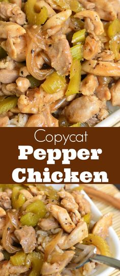 Copycat Pepper Chicken and Rice recipe. Once you try this homemade version of Panda Express Pepper Chicken, you'll never go back to take-out. Juicy, tender chicken thigh meat is sauteed with onions an Rice Recipes, Asian Recipes, Chicken Recipes, Dinner Recipes, Cooking Recipes, Healthy Recipes, Chicken Pepper Steak Recipe, Black Pepper Chicken, Cooking Fails