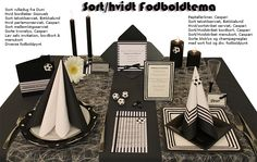 sort hvid fodbold borddækning konfirmation Scrapbook Cards, Sorting, Bookends, Table Settings, Reception, Table Decorations, Creative, Party, Diy