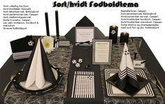 sort hvid fodbold borddækning konfirmation