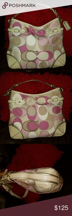 Coach Collette Canvas Hobo Pink Purple Taupe Bag This is a  Gorgeous authentic Coach 16441 hobo  Purse bag. Pink, purple, taupe in color.  The inside zipper pocket has a small black ink mark, nothing major or anything anyone will see. Still in overall awesome condition. 15x13x2.5 Coach Bags Hobos