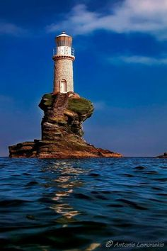 """orchidaorchid: """" Tourlitis lighthouse, in Andros Island (Cyclades),Greece // by Antonis Lemonakis """" A Just say WOW Photo - Andros Island, Greece Saint Mathieu, Lighthouse Pictures, Reisen In Europa, Light Of The World, Belle Photo, Places To See, Beautiful Places, Scenery, Around The Worlds"""