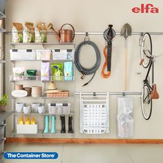 Nothing organizes a garage, gardening shed, workshop, or basement like Elfa! Contact us today for a free custom design. (Shown: Elfa Classic in Platinum)