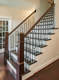 lj smith handrail iron balusters with shoes box newels handrail lj smith handrail brackets lj smith 6210 handrail Step Railing Outdoor, Outdoor Handrail, Metal Stair Railing, Interior Stair Railing, Iron Staircase, Stair Handrail, Staircase Railings, Wooden Staircases, Wooden Stairs