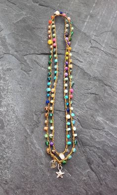 Crochet colorato involucro bracciale collana Lil'
