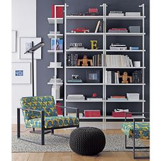 something like this for the backwall? love that the shelves are white and that you can see the paint color stairway white wall mounted bookcase | CB2
