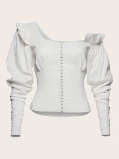 To find out about the Button Front Puff Sleeve Solid Blouse at SHEIN, part of our latest Blouses ready to shop online today! Balmain, Magda Butrym, White Style, Ruffle Top, White Tops, White White, Types Of Sleeves, Manga, Fashion News