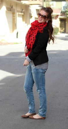 pattern mixing, pattern mixing outfits, red scarf, red bow scarf, red scarf outfit idea, black blazer, blazer outfit, outfit idea, striped top, striped top outfit, striped top outfit idea, jeans, distressed jeans, modest distressed jeans, jeans outfit, casual outfit, animal print flats, animal print outfit idea, pattern mixing outfits,