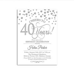 40th Birthday Invitation / Any Age / Silver White by FridayFactory