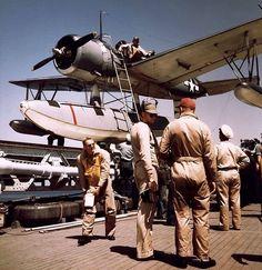 Vought Kingfisher on USS Missouri in Atlantic