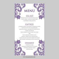french damask wedding menu template french wedding and blue