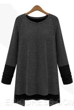 Contrast Color Long Sleeve Patchwork Round Neck T-Shirt  Long Sleeve T-shirts