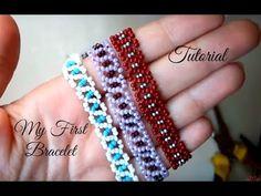 My first beaded bracelet - tutorial for beginners - MyStyles Beaded Bracelets Tutorial, Beaded Bracelet Patterns, Seed Bead Bracelets, Beading Patterns, Seed Beads, Bead Earrings, Bracelets Crafts, Homemade Jewelry, Diy Jewelry