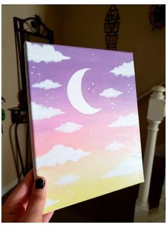 Celestial Aesthetic Moon Cloud Pink Ombre Painting   Etsy #aesthetic #painting #ideas #easy #acrylic #aestheticpaintingideaseasyacrylic Clouds and sunsets are so beautiful, the moon especially 🌟🌙 Handpainted on a 8 x 10 canvas, this rejuvinating art piece will make a lovely addition to your bedroom, kitchen, dorm, bathroom ect! Painted with acrylics and sealed with a varish for a glossy finish. I cannot provide a refund unless there is proof the product has been damaged upon delivery. If… Small Canvas Paintings, Easy Canvas Art, Small Canvas Art, Mini Canvas Art, Cute Easy Paintings, Canvas Ideas, Love Canvas Painting, Diy Canvas, Acrylic Paintings