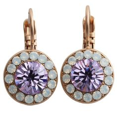 Mariana Rose Gold Plated Round Disc Small Swarovski Crystal Earrings, Twilight. Available at www.regencies.com