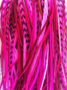 "4""-7"" Bright Pink with Grizzly & Brown Mix Feathers for Hair Extension with 2 Silicone Micro Beads 5 Feathers by SEXY SPARKLES. $4.99. Feathers can be washed and curled;. 5 genuine feathers each bunched together with a keratin bond to make ONE extension. The feathers are real so the sizes and lengths are all different. No two feathers are the same - Feathers will not look identical to those shown in photo. Color of feathers may vary, Feathers range from 4""-7"". Includes two sil..."