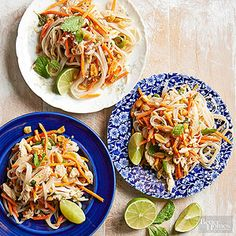 This healthy take on traditional pad thai swaps the heavy peanut butter sauce for a refreshing mix of rice vinegar and mint. Packaged julienned carrots and rotisserie chicken help the restaurant favorite come together in no time.