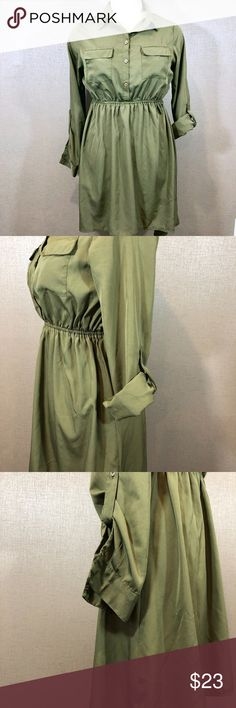 """Olive Green Tunic Dress with Sleeves Up for sale in good preowned condition, Olive Green Tunic/ Dress, fabric is quite thin, but not see through, can be worn together with skinny jeans, leggings or on its own. Please see photos for details. Check out my closet, bundle and give me your offer!  Measurements:  Back Top to Bottom: 38"""" Front Top to Bottom: 30.5""""   Bust Area:  Waist: 16.5"""" Sleeve: 23"""" All measurements are approximate and taken flat in the front only. Pink Rose Dresses"""