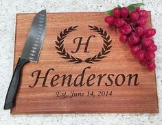 Personalized Cutting Board Wedding Gift Bridal Shower Gift Cutting Board Wedding Gift Custom Cutting Board Housewarming Gift Anniversary by HartsCustomGifts on Etsy Custom Cutting Boards, Personalized Cutting Board, Custom Wedding Gifts, Wood Gifts, Bridal Shower Gifts, Food Grade, Boyfriend Gifts, Mother Gifts, Gifts For Him