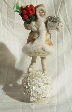 Vintage by Crystal Spun Cotton Winter Girl Christmas Box