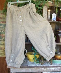 AUTHENTIC MAGNOLIA PEARL HEAVY LINEN FLAX BLOOMERS PANTS