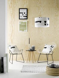 plywood wall with a black&white accessories - from Room Blush
