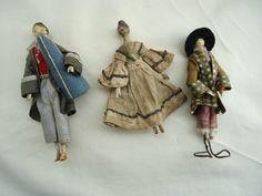 Antique Wooden Primitive Miniature Peg Dollhouse Dolls 3 EXC | eBay
