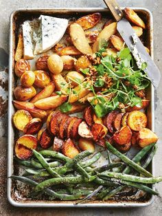 Roasted mixed potato salad with beans, watercress and blue cheese