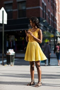 Yellow Pleated Dress + Studded flats