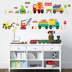 Truck Crane Digger Wall Sticker For Kids