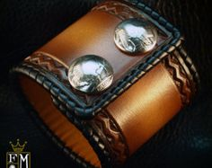 Leather cuff Bracelet Brown sunburst Vintage style laced edge, hand tooled, Buffalo nickels - Quality Made for YOU in NYC by Freddie Matara