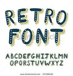 Retro alphabet font. Type letters set. Vector design elements. Hand drawing abc.