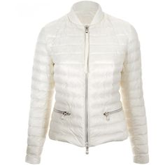 Moncler Cream Blennie Front Pocket Jacket (2.740.045 COP) ❤ liked on Polyvore featuring outerwear, jackets, shiny jacket, moncler jacket, white feather jacket, light weight jacket and cream jacket