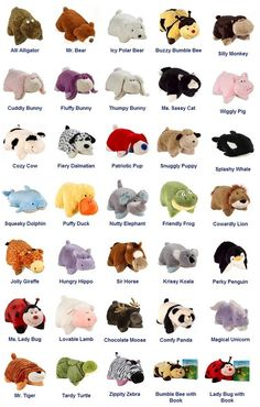 My Pillow Pet Options I want all of these. I will start my collection with the zebra that I have