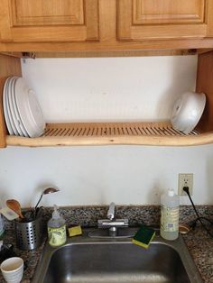 Place a drying rack above your sink to save room on your counter.