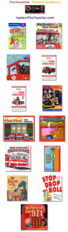 Suggested thematic reading list for Fire Safety - Fire Safety books for kids.