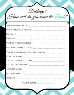 Breakfast at Tiffany's Bridal Shower Game Template - How well do you know the bride? by TantalizingTemplates on Etsy